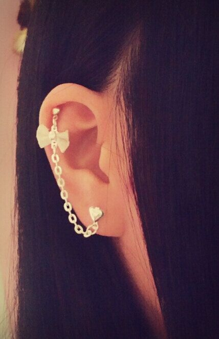 mesh bow cartilage chain earring helix lobe helix ear cuff