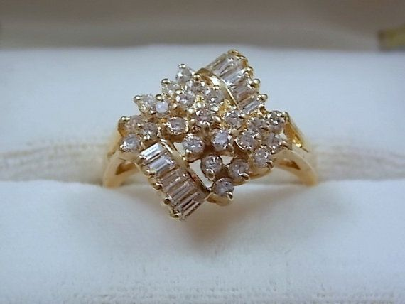 1980s Diamond Cer Ring 80 Ctw Yellow By Estatejewelry 575 00