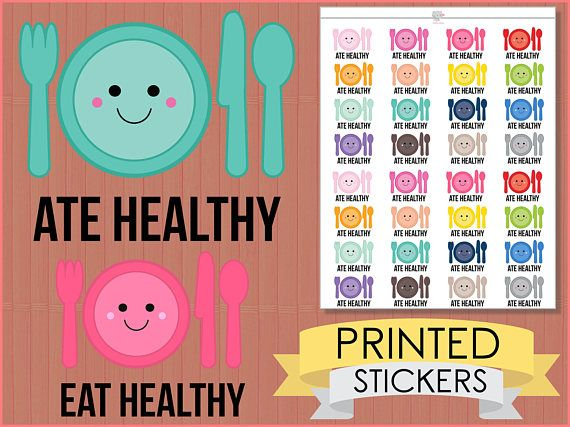 Healthy Eating Tracker Stickers : [PRINTED STICKERS], planner stickers, deco stickers, erin condren, happy planner,  diet, health