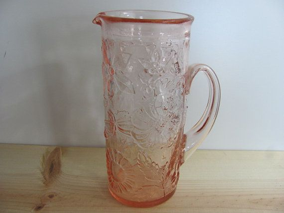 Vintage Pink Glass Pitcher With Flower By Ambervintagechicago Pink Glass Pitcher Glass Pitchers Pink Glass