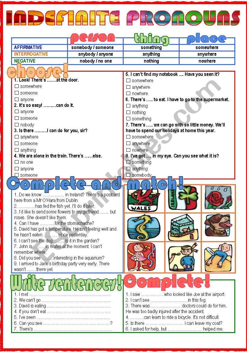 small resolution of It´s an easy worksheet for students to learn and practise the indefinite  pronouns. I hope… in 2020   Indefinite pronouns