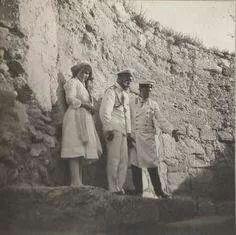 Tsar Nicholas ll of Russia with Grand Duchess Anastasia Nikolaevna Romanova of Russia visiting an archaeological site in thr Crimea in 1913.A♥W