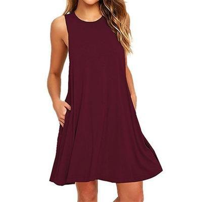 Photo of New Skater Dress smanicato con collo tondo senza maniche con tasche