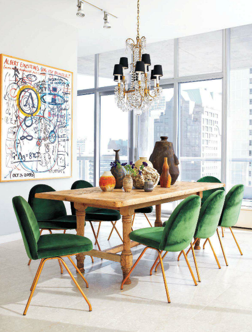 Add A Touch Of Green With Dining Chairs Or Better Yet Slipcovers Dining Room Inspiration Velvet Dining Chairs Eclectic Dining