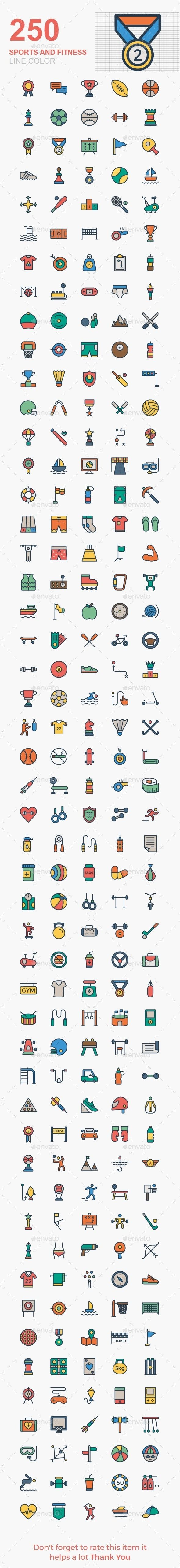 Sports and Fitness line color icons #Affiliate #Fitness, #AD, #Sports, #line, #icons