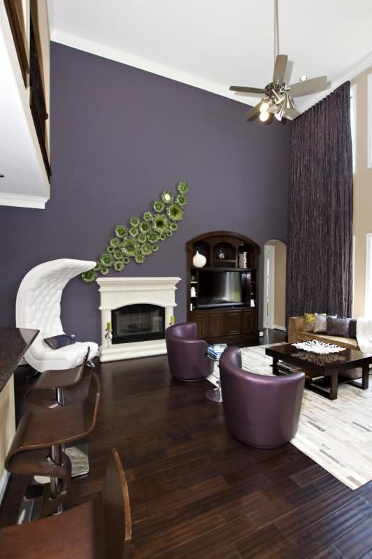 Fireplace Color Ideas Turn A Dark Dreary Fireplace Into A Bright Purple Living Room Purple Interior Design Purple Home