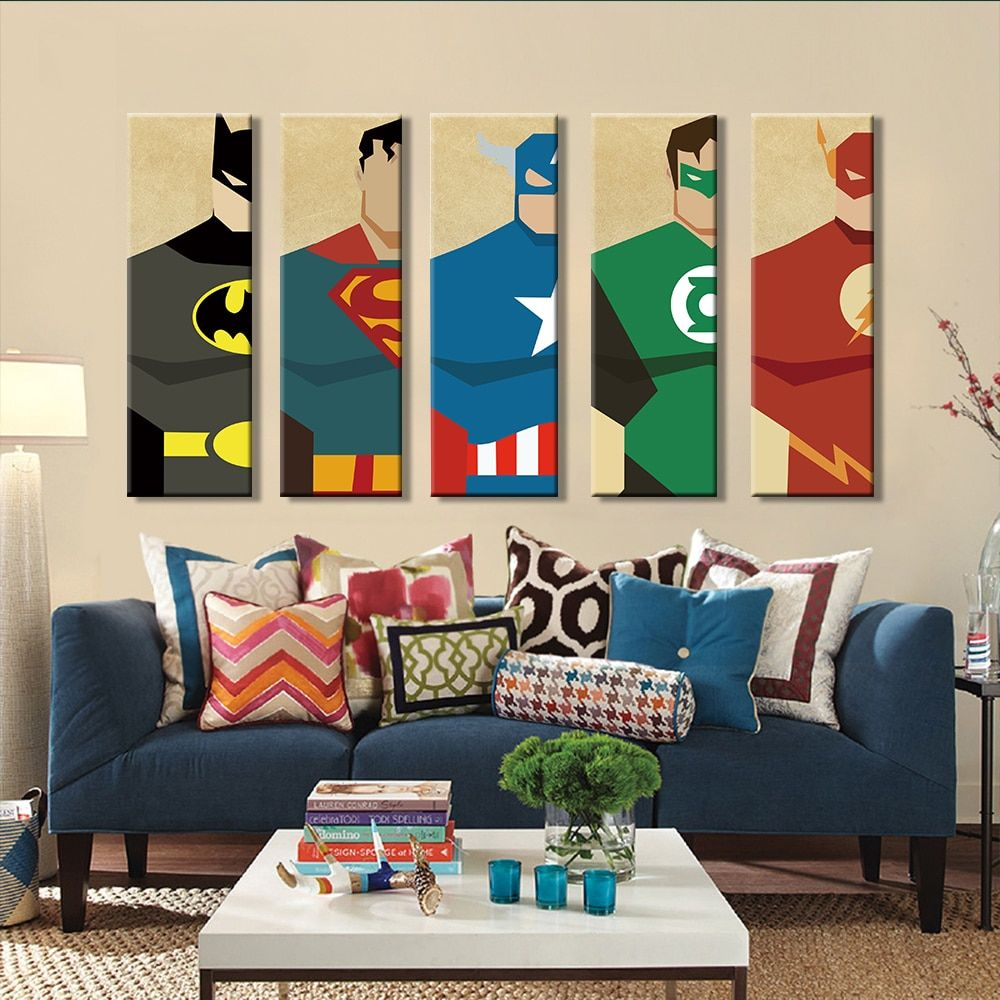5 Pieces Superhero Modern Canvas Wall Art In 2020 Superhero Room Decor Kids Wall Decor Superhero Room