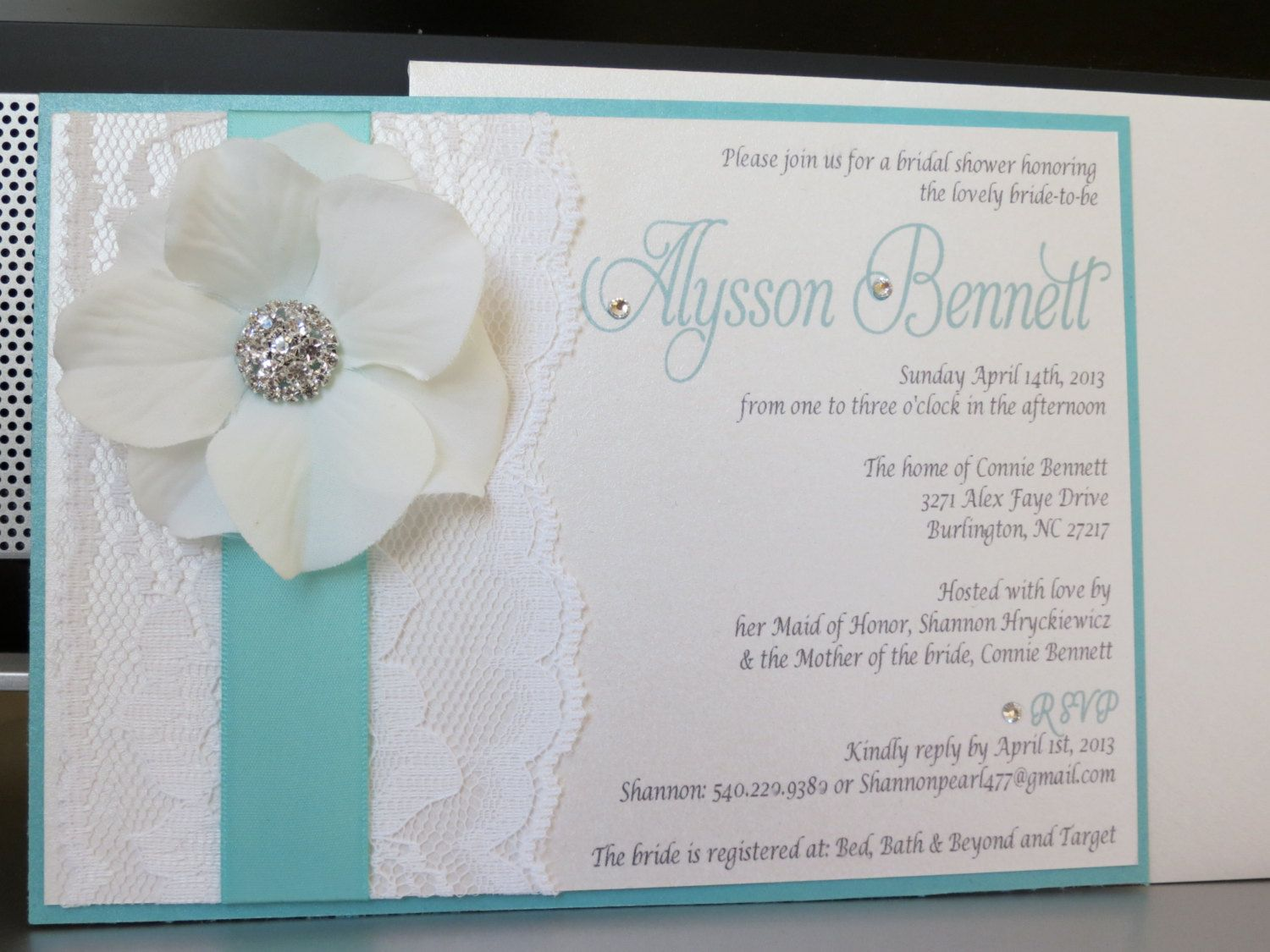 TIFFANY Themed Wedding Shower Invitation - Tiffany Blue or Mint and ...