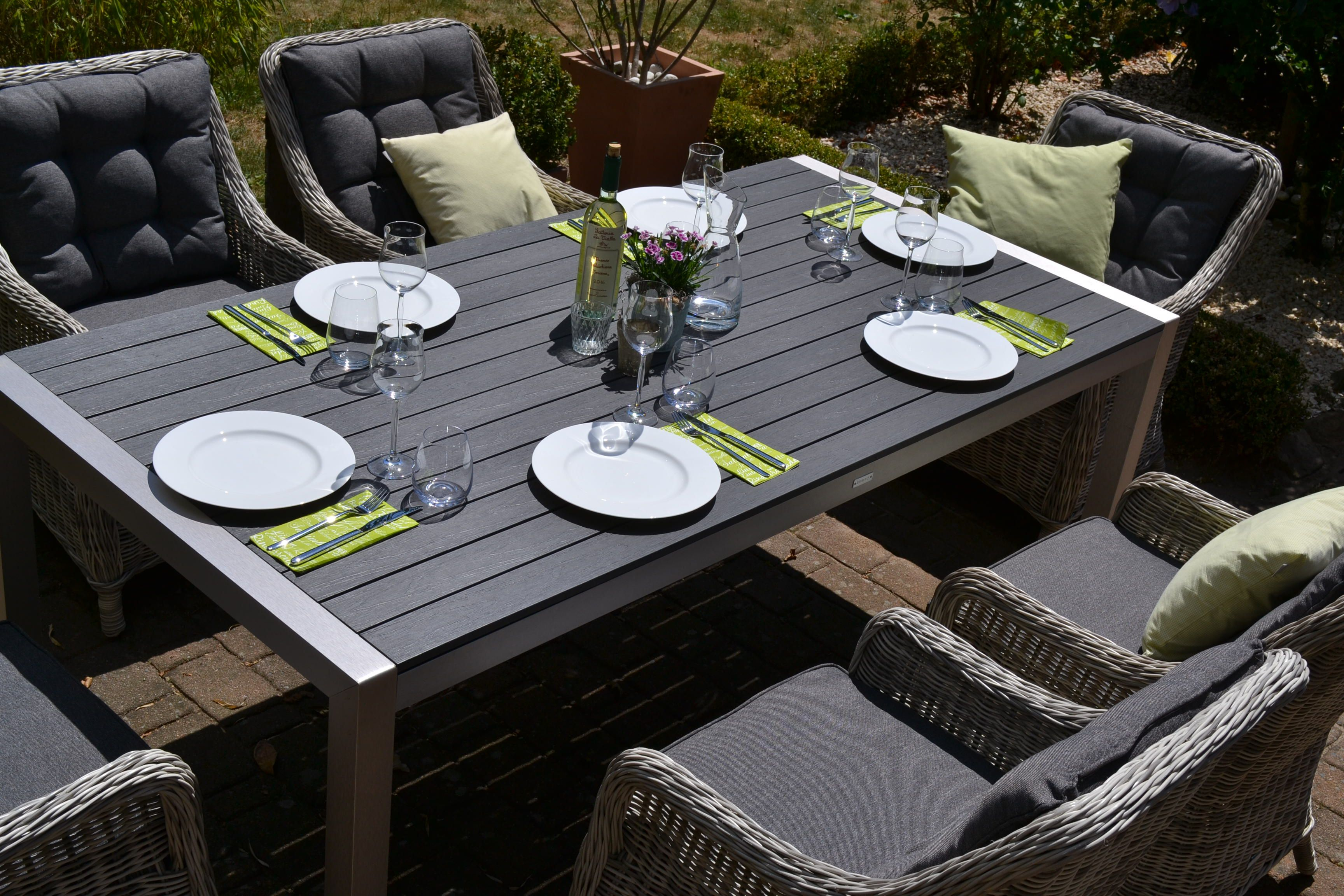 Sitzgruppe Miami 200x100cm Mit 6 Sesseln Grau Polster Grau Sitzgruppe Sessel Grau Gartenmobel
