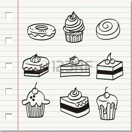 Doodle Food And Drink Hand Draw Bullet Journal Doodles Cake Drawing Doodles