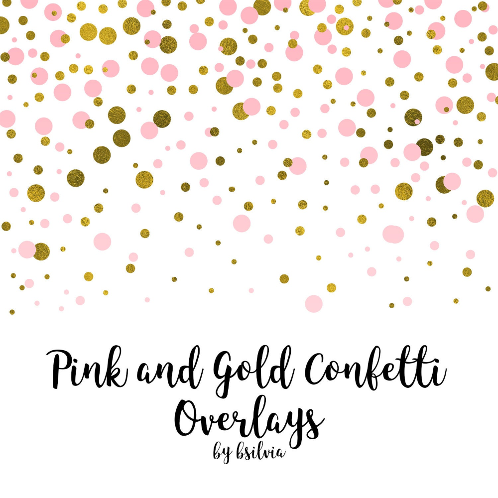 Pink And Gold Confetti Overlays Gold Confetti Transparent Png Etsy In 2021 Photo Overlays Pink And Gold Overlays
