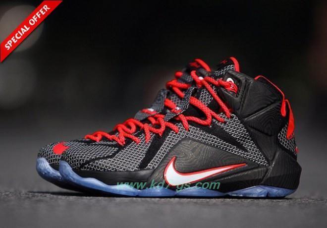 Buy Black/Bright Crimson/White Nike Lebron 12 Mens