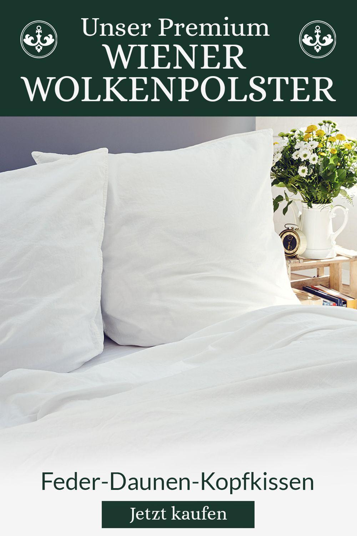 Grosses Wiener Wolkenpolster Feder Daunen Kopfkissen 80x80cm In