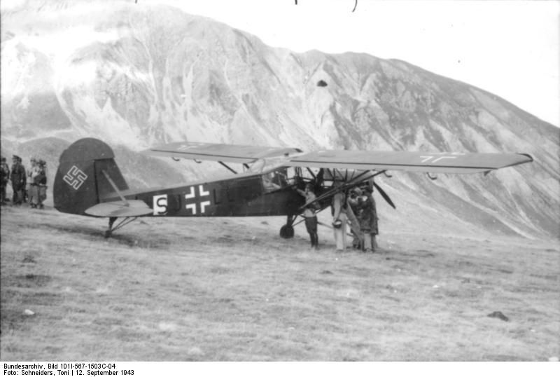 The actual Storch involved in Mussolini's rescue in the Gran Sasso raid, bearing low-visibility versions of the Balkenkreuz and swastika.