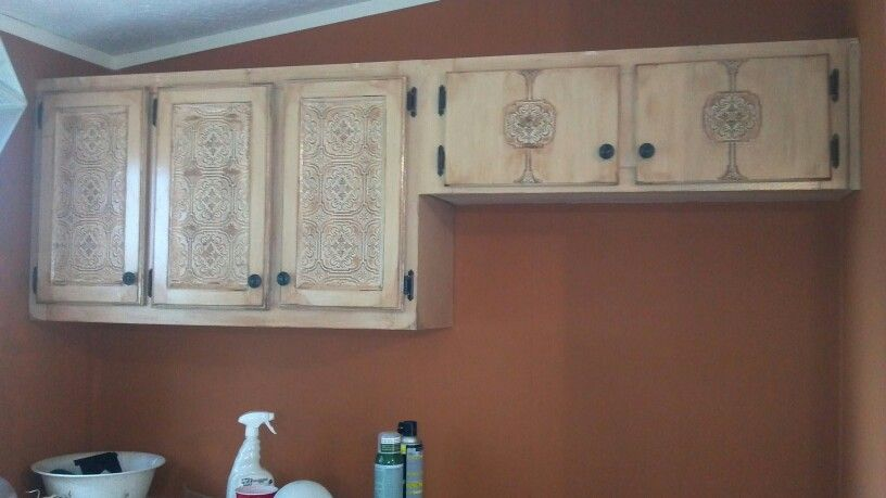 My Re Done Kitchen Cabinets Paintable Wallpaper Mocha Antique Glaze