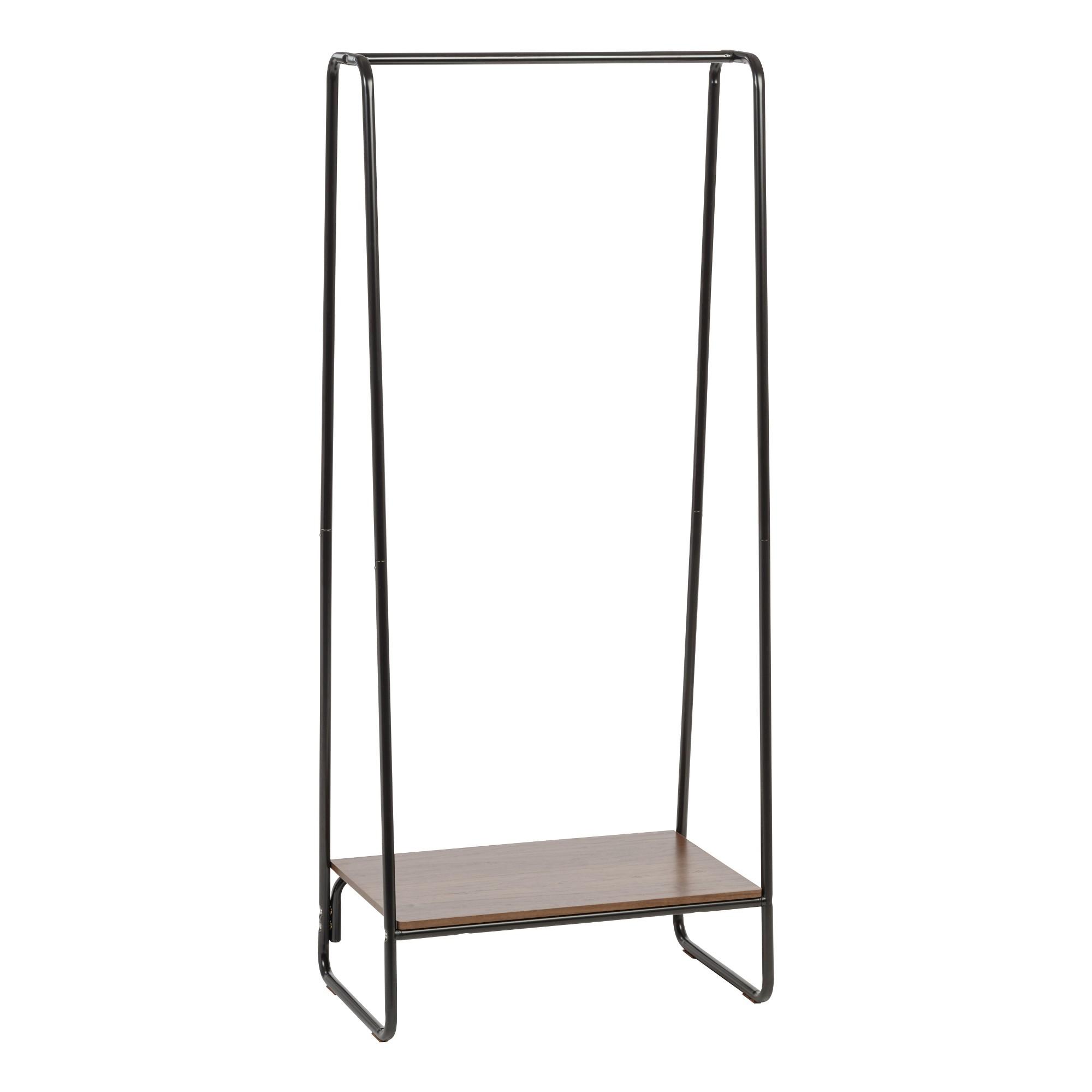 ffd93317614 Iris Garment Rack with Wood Shelf - Black