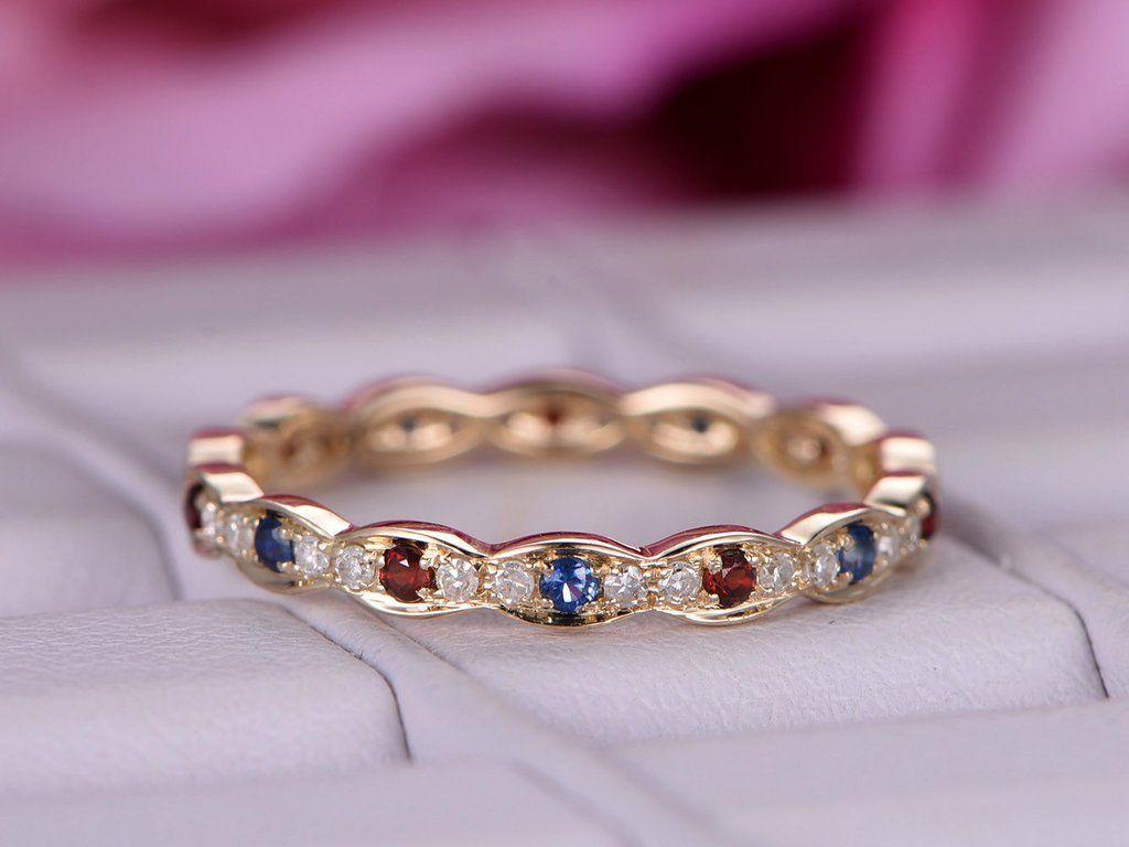 Blue sapphire garnet wedding band full eternity anniversary ring