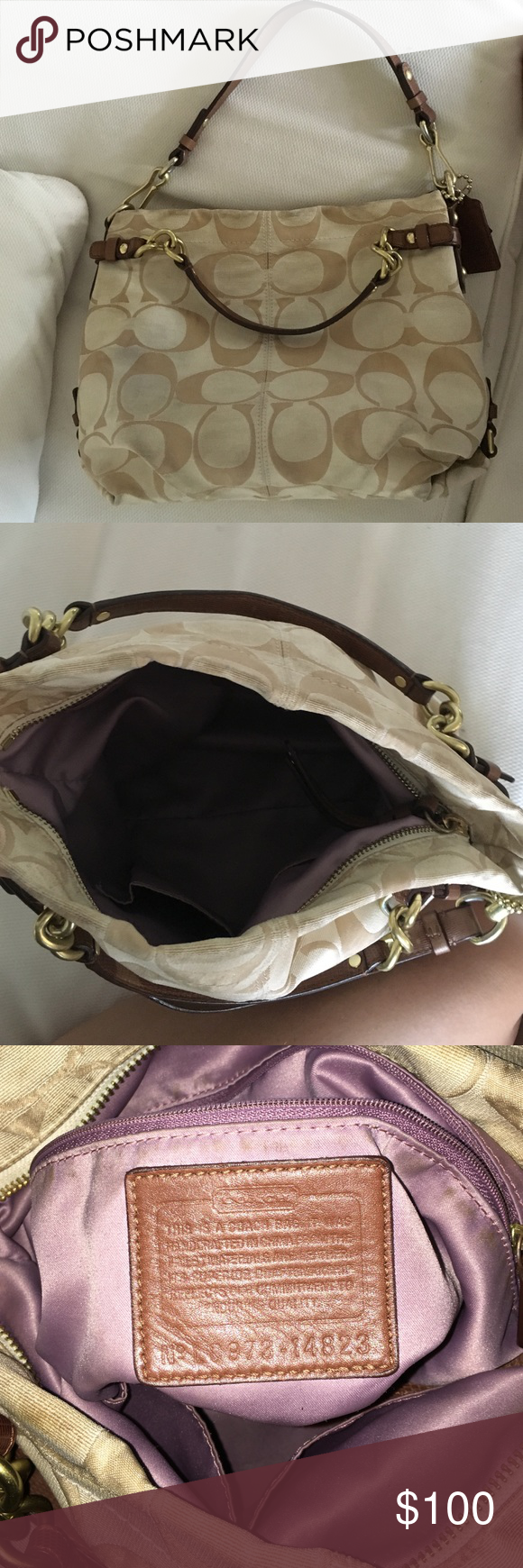 44eb6e7160 Tan and cream coach purse Cream and tan coach purse. 5+ years old. Slightly  worn but still in pretty good condition. Coach Bags Shoulder Bags