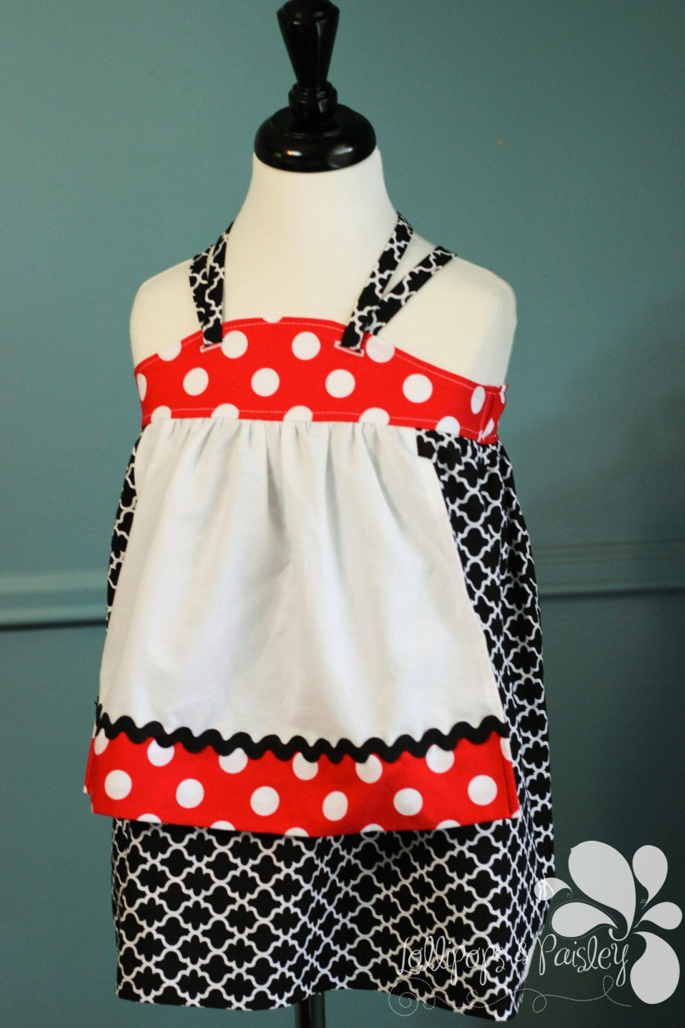 Fall Layering Katie Ellie Style Dress Apron Halter Tie Knot Red White Black Made to Order Custom Back to School Boutique by LollipopsPaisley on Etsy