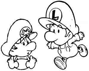 Baby mario baby luigi 2 kleurplaat Kleurplaten Pinterest Mario