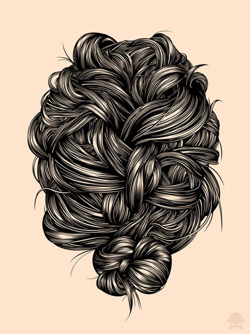 Gaks Designs illustration - Hair Study
