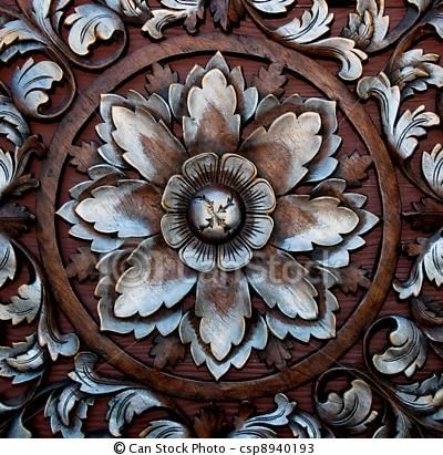 Pattern Baroque Style | Photos of The Old carving wood ornament of flower pattern thai style ...