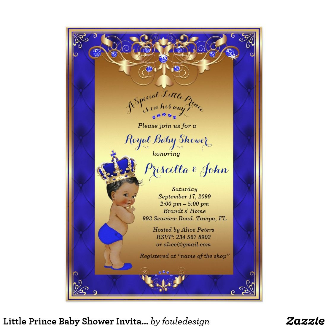 Little Prince Baby Shower Invitation, Royal Blue | Baby Shower ...