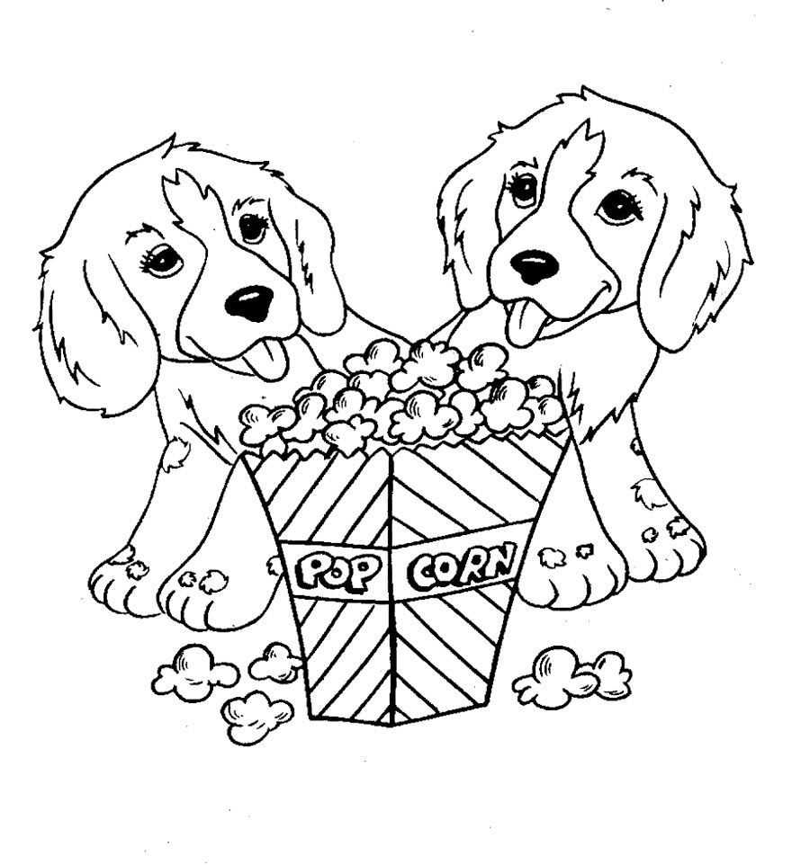 Two dog eat popcorn coloring page for kids