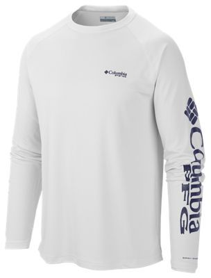 eadc462542b Columbia Terminal Tackle PFG Logo Long Sleeve T-Shirt for Men - White  Nightshade Logo - 2XL
