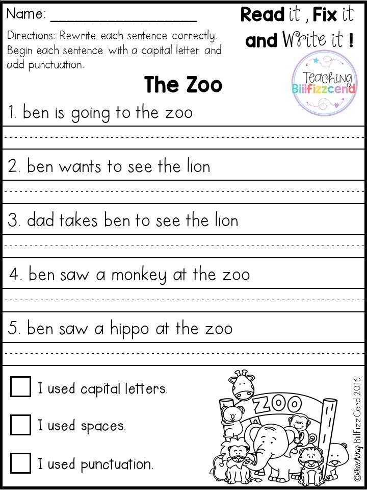Free 20 Fix It Up Pages. These Are Great For Students In Kindergarten, First  Grade, And Sec… 1st Grade Writing Worksheets, 1st Grade Writing, Kindergarten  Writing
