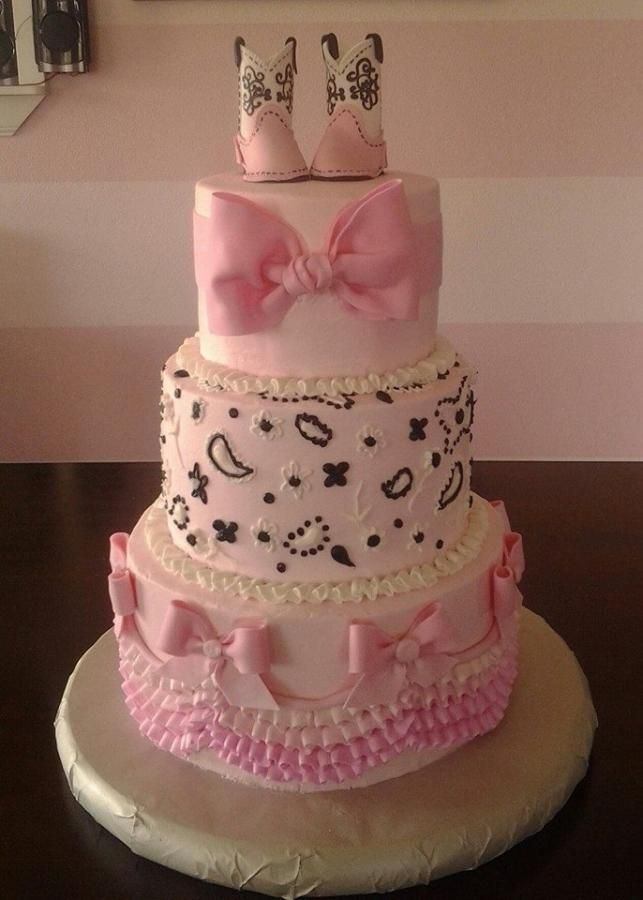 Charming Pink Cowgirl Baby Shower   Cake By SweetBlessings More
