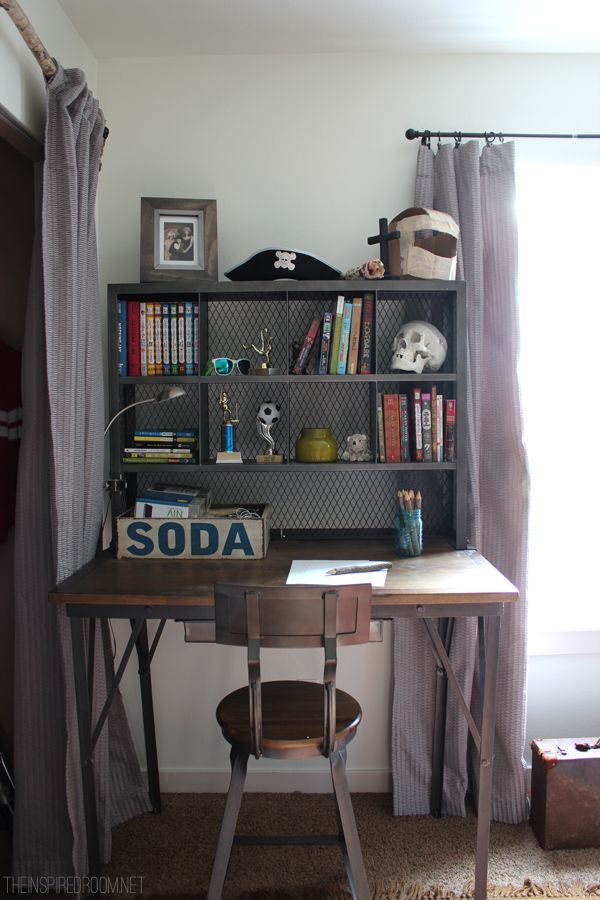 Teen Boy\'s Small Bedroom {An Update | Industrial desk, Industrial ...