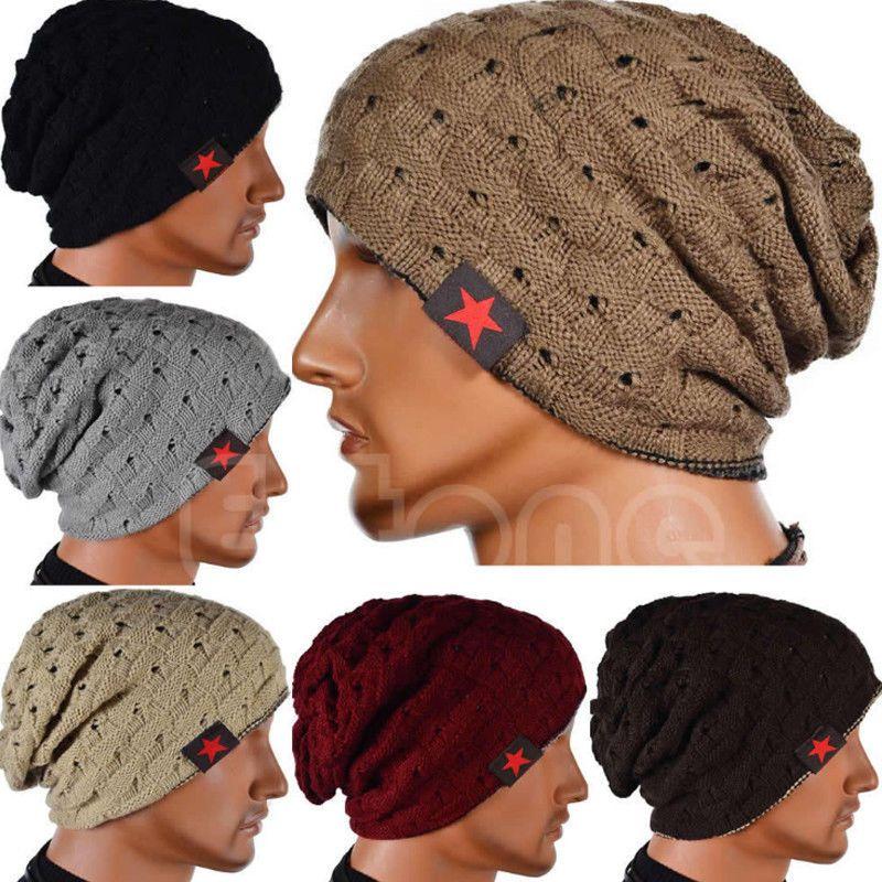 Men/'s Women/'s Knit Baggy Beanie Oversize Fashion Winter Hat Ski Slouchy  coffee