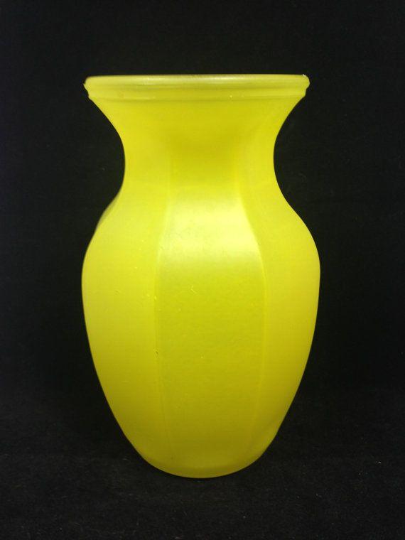 Vintage Lemon Glass Vase Vintage Yellow Glass Vase Large Sized Yellow Vase Yellow Glass Vase Glass Vase Yellow Vase