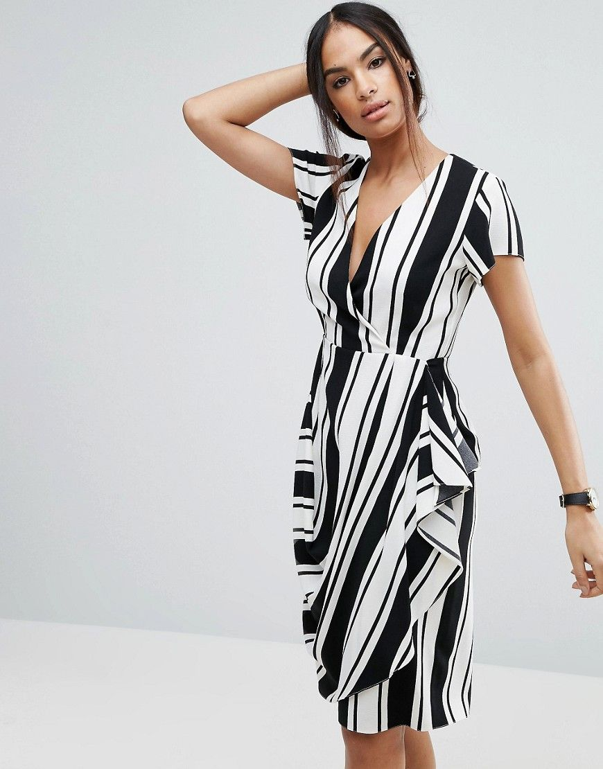 Buy it now. ASOS Drape And Waterfall Skirt Dress in Stripe - Multi. Dress by ASOS Collection, Stretch woven fabric, V-neck, Wrap front, Waterfall trim, Zip back, Slim fit - cut close to the body, Machine wash, 96% Polyester, 4% Elastane, Our model wears a UK 8/EU 36/US 4 and is 175cm/5'9 tall. ABOUT ASOS COLLECTION Score a wardrobe win no matter the dress code with our ASOS Collection own-label collection. From polished prom to the after party, our London-based design team scour the globe to…
