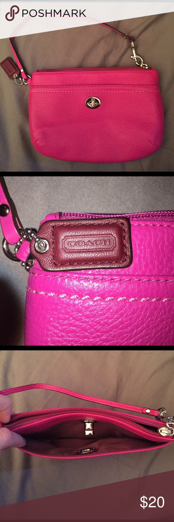 Great quality Coach pink leather wristlet! Nice pink color! Used probably once, great condition! One main zipped pocket and one smaller outside pocket that clips! Coach Bags Clutches & Wristlets