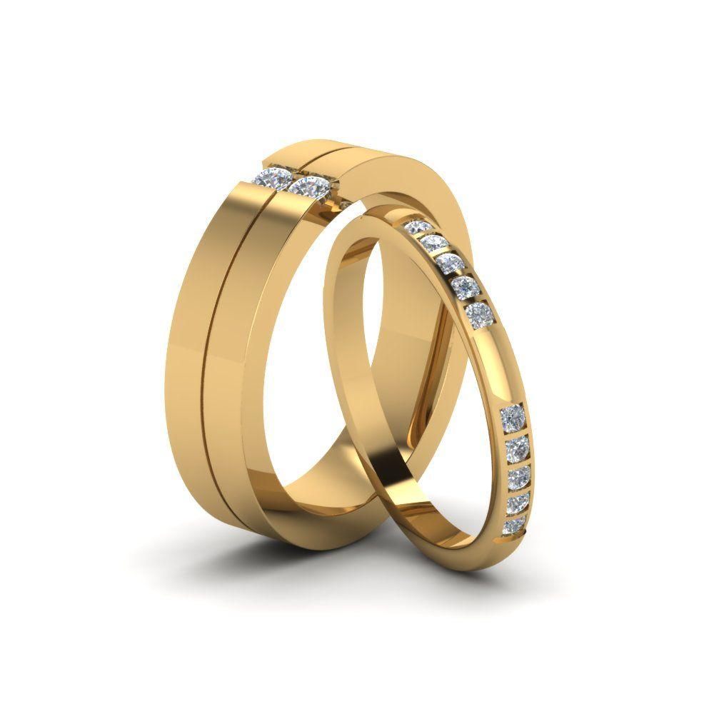 His and hers matching diamond anniversary wedding bands