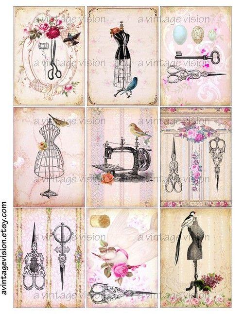 Vintage Prints Birds in the Sewing Room Digital von avintagevision | We Heart It