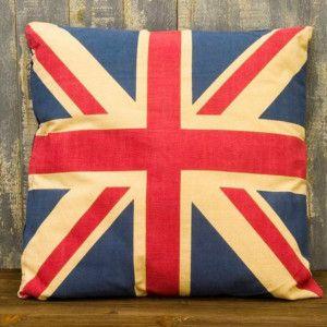 アメリカンフラッグクッション2.UK(ユニオンジャック)イギリス国旗アメリカン雑貨ビンテージ風プリント