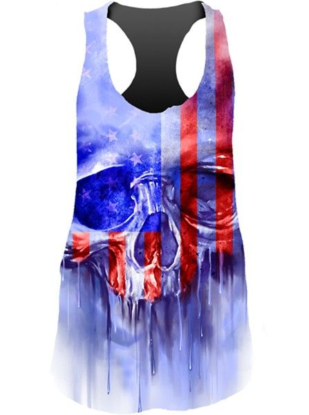 """Women's """"USA Painted Skull"""" Sublimation Tank by Lethal Angel (Multi) - 1"""