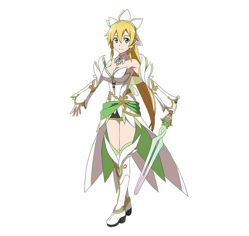 Armpits Black Skirt Blonde Hair Boots Breasts Cleavage Detached Sleeves Green Eyes Ornament Highres Holding Sword Weapon Leafa Long