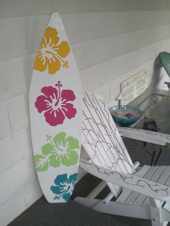 4 Foot Surfboard wall art Beach decor wall by HopelessRomanticShop, $59.99