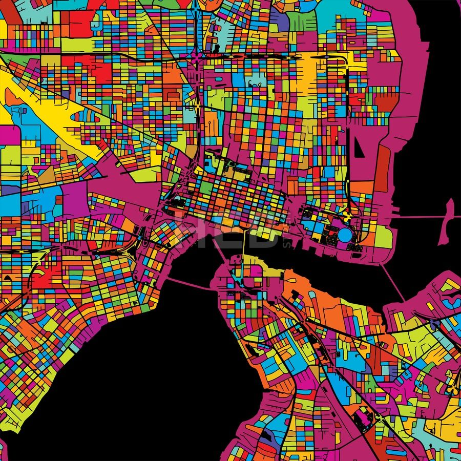 Jacksonville Colorful Vector Map on Black by Hebstreits #stockimage #design #map #colorful #vector