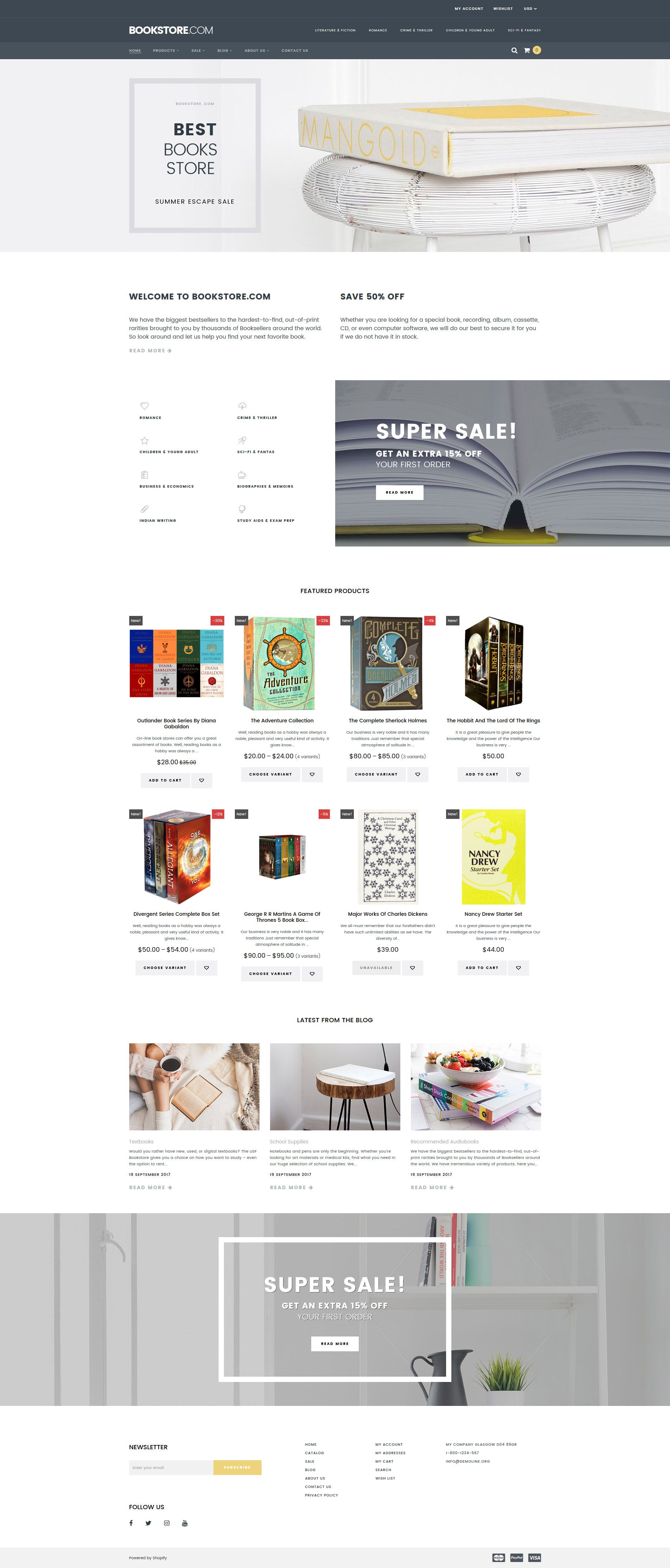 Books Responsive Shopify Theme Website And Books - Shopify website templates
