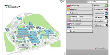Karta över sjukhusområdet SÄS Borås.