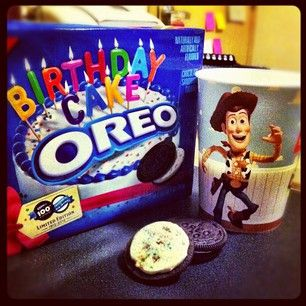 Heaven is Birthday Cake Oreos and milk in a Toy Story cup