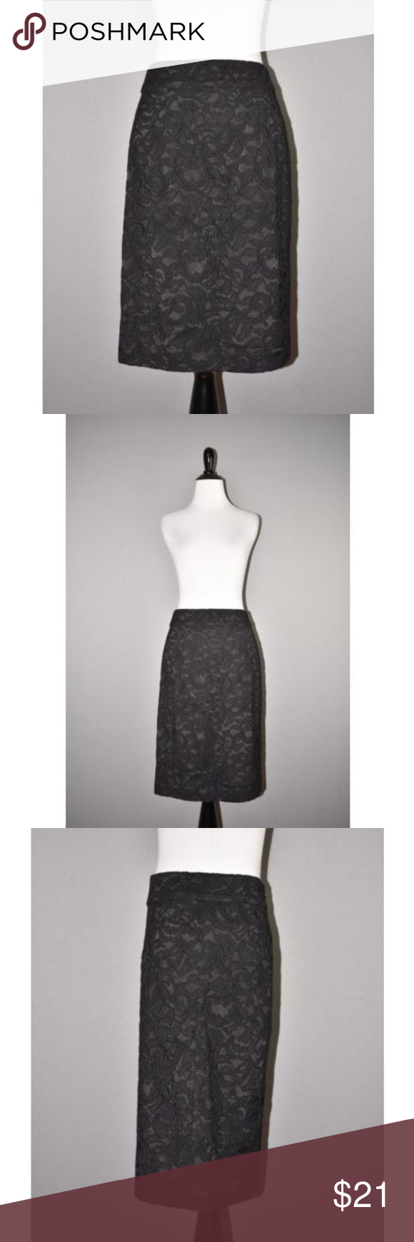88b786505e BANANA REPUBLIC Lace Knee Length Pencil Skirt BANANA REPUBLIC NEW $70 Black  Lace Knee Length Pencil