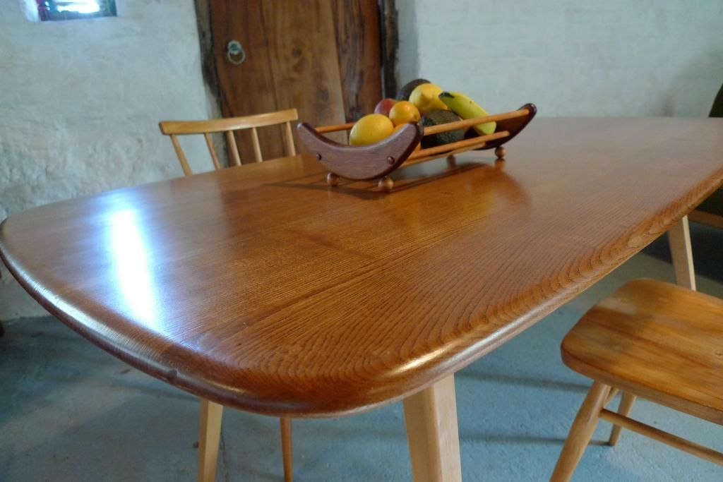 Ercol Elm Plank Dining Kitchen Table Retro 60s