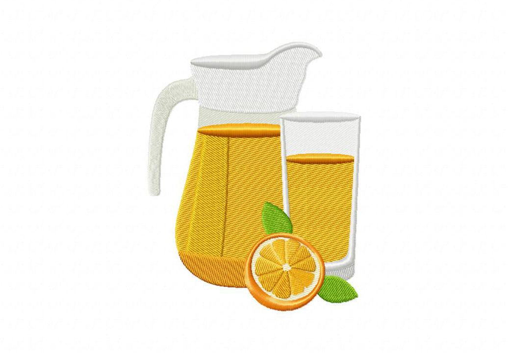 Orange Juice With Pitcher Machine Embroidery Design