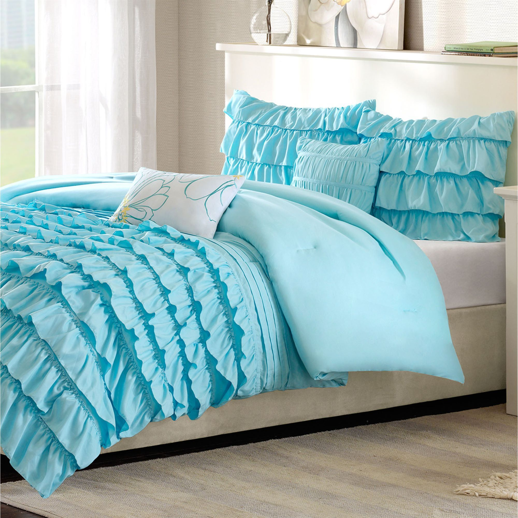 Kacie Light Blue Ruffled Comforter Bed Set Pokryvalo